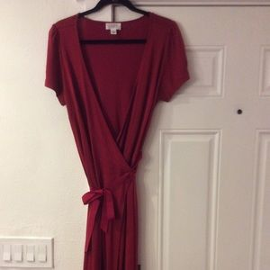 Loft red wrap dress
